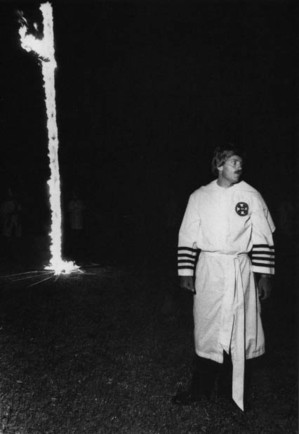 David Duke, wearing Klan robes, attends a Klan rally in Euless, Texas in ...